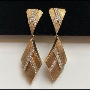 Vintage PANETTA Gold-tone Deco Dangle Earrings